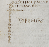 Coronis at the end of Jeremiah (Quire 49, folio 7 verso)